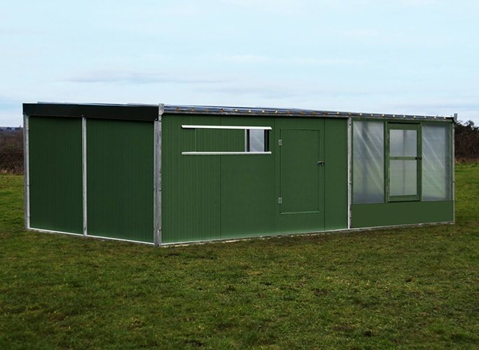 15'x20' Metal1000 shed & night shelter combi